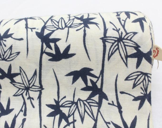 Japanese Vintage Indigo Yukata Cotton. Full Fabric Bolt for Traditional Clothing. Hand Dyed Gray Maple Leaf (Ref: 1659)