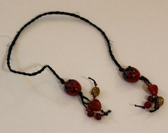 Braided Hemp Bookmark - Glass Ladybugs