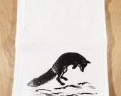 Jumping Fox Screen Printed Tea Towel