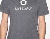 Bike Shirt - Live Simply - American Apparel Screenprinted - Heather Black - Men's or Unisex