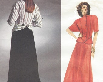 80s Chloe Womens Dolman Sleeve Peplum Top & Ankle Length Skirt Vogue Sewing Pattern 1918 Size 14 Bust 36 UnCut Vogue Paris Original