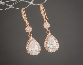 Rose Gold Wedding Earrings, Bridal Earrings, Crystal Teardrop Dangle Drop Wedding Earrings, Old Hollywood Bridal Wedding Jewelry, LILIANA