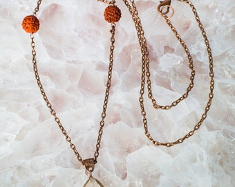 Long Copper Necklace with QUARTZ and Rudraksha Beads SACRED JEWELRY