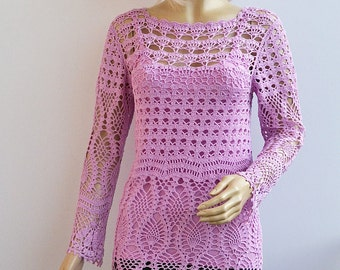 purple crochet sweater, crochet blouse, lace tunic, made to order, crochet handmade, crochet tunic, beach cover up, spring sweater, Easter