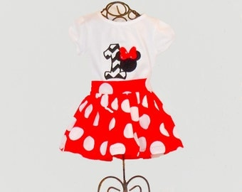 MINNIE MOUSE BIRTHDAY Outfit Size 1 Year to 8 Size 1 2T 3T 4T 5 6 7 8