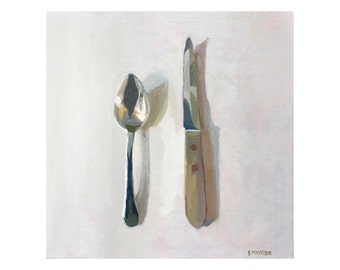 """Oil on Canvas Painting - """"Grapefruit Spoon & Knife"""" - 12x12"""""""