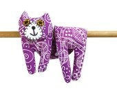 Flat Cat, Hot Cold Rice Bag, Microwave Neck Wrap, Rice Heating Pad, Hot Cold Therapy Pack, Purple Pink White Dots Swirls, Cat Lover Gift