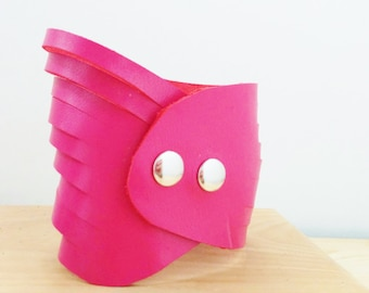 Pink bracelet,leather bracelet,leather cuff,pink cuff,hot pink cuff,pink leather cuff,wide cuff,wide leather cuff,multistrap cuff