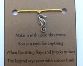 Sea Horse #3 WISH STRING Silvertone Bracelet String Band Friendship Bracelet Cord Color Choice