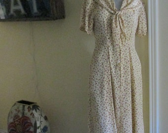 Vintage 50s Floral Cherry Dress / Size Medium Large Dress / Attached Scarf Tie Dress