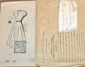 Vintage 1940s Mail Order Sewing Pattern Anne Adams 4766 Dress with Peplum Sash, Collar, Cuffs, Womens Misses Bust 34 Unprinted Factory Folds