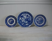 Mismatched China Dessert Plates, China Transferware Plates and Saucers in Blue Instant Collection, Wedding Shower China, 4 piece set,  #01
