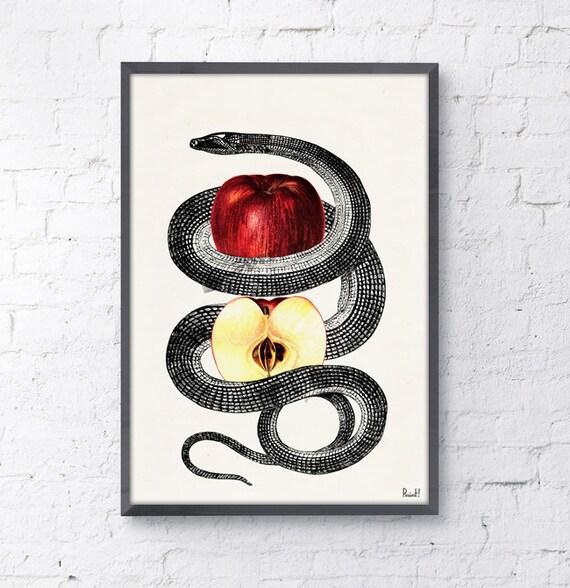 Red Temptation snake and apple Print , Wild art print, Anatomical art print, Erotic Art- Snake art print WAN172