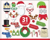 Printable Christmas Photo Booth Props | 31 Printable Props | Instant Download | Photo-Booth Clipart