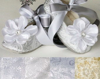 Silver Baby Ballet Slipper, Toddler Flower Girl Shoe in Gold, Ivory, White, Pink, Christening, Little Girl Wedding Shoe, Dance, Baby Souls