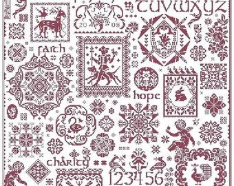 Paradigm Found sampler cross stitch pattern by Long Dog Samplers at thecottageneedle.com monochromatic Celtic Scandinavian