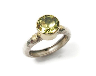 Lemon Quartz ring. Sterling silver & 9k gold Lemon quartz ring. lemon quartz jewelry, gift for her, anniversary (gsr-7084)
