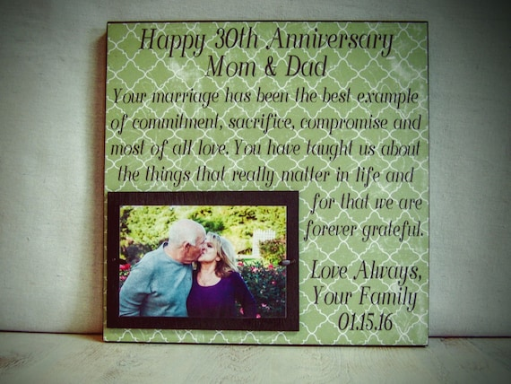 Personalized Anniversary Frame, Wedding Anniversary, Anniversary Gift, Happy 30th Anniversary, Parent Gift, Anniversary gift for parents