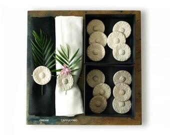 Handmade ceramic napkin rings set Milkmaid Hats
