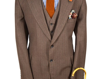 46R Brown Pinstriped Lightweight Gentry Vintage Blazer