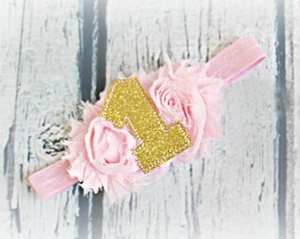 First Birthday Headband Glitter Gold 1st Birthday Girl Headband First Birthday Girl Smash Cake Hair Bow Photo Prop Choose Colors