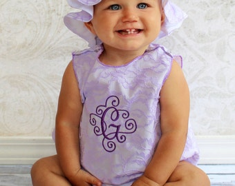Lace Romper Baby Romper Monogram Baby Girl Bubble Romper Baby Romper Newborn Baby Girl 0-3 mon up to 2T Toddler Girl Romper