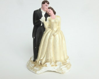 Wedding Cake Topper Bride and Groom Chalkware Plaster 1947 Melillo Studios