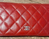 Reserved pls do not purchase Authentic Vintage Red Chanel Quilted CC Logo Wallet