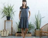 SALE!Drop waist midi dress with lace detail ,Grey linen summer dress