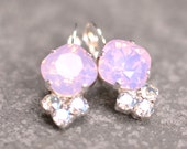 Pink Opal Earrings Swarovski Crystal Moonlight Rhinestone Leverback Drop Rhinestone Tennis Style Crystal Earrings Lolita Mashugana