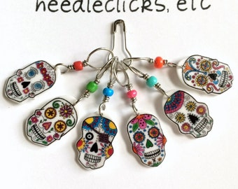 sugar skull stitch markers, snag free, colorful knitting accessory, fun gift for knitters, optional gift wrap