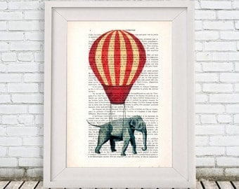 Whymsical Elephant Print, Hot Airballoon, Vintage Airballoon Print, Elephant illustration, Flying Elephant by Coco de Paris