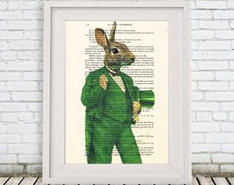 Rabbit gentleman Print, Chique Rabbit Illustration Acrylic Painting Animal Painting Picture Wall Art Rabbit painting vintage