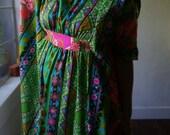 Vintage Psychedelic Kimono Maxi Dress XS S M 60s 70s Floral Boho Hippie Gypsy Geisha Grunge Bohemian Ethnic Tribal Mod Folk Festival MuMu