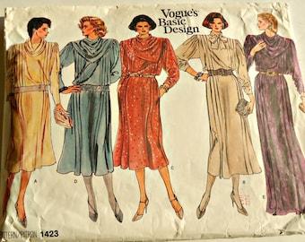 Vogue Sewing Pattern 1423 Cowl Neck Dress Size 18 Uncut