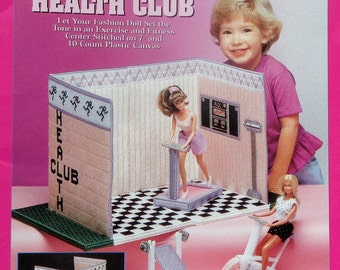 The Needlecraft Shop Fashion Doll Carry & Play HEALTH CLUB Plastic Canvas Dollhouse Furniture Toy For Barbie Doll - Pattern Chart Booklet