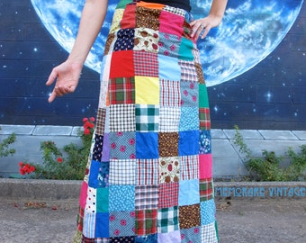 1960s patchwork magical hippie SKIRT maxi festival boho from 1950s fabric vintage // size: XXS / XS / S