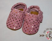 WOW! Pink Pebbles 100% genuine leather baby moccasins Mocs moccs top quality, first birthday,