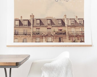 Paris Je T'aime ready-to-hang oversized art print, romantic Paris apartments wanderlust living room decor, home decor blank wall solutions