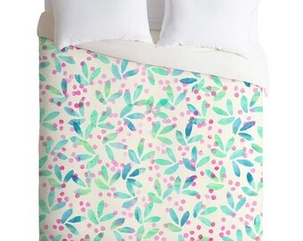 Pretty Duvet Cover ~ Very Berry Nice Watercolor duvet cover, unique fall bedroom accessory, housewarming gift, girly sweet pink dorm decor