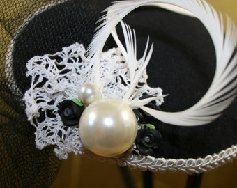 Lace and pearls pillbox hat