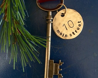 Personalized housewarming gift, skeleton key, Key ornament, First Christmas,  first home ornament, new home ornament, wed