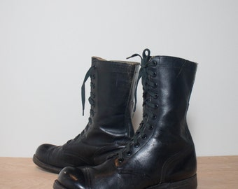 11.5 R | Vintage Combat Boots 1960's Lace Up Jump Boot Military Cap Toe