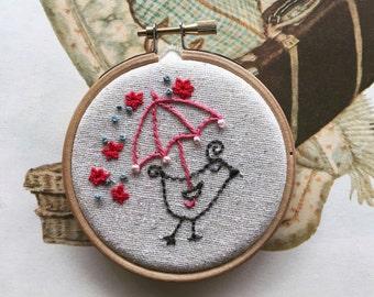 embroidery kit // Beatrice takes a stroll - bird & umbrella embroidery kit
