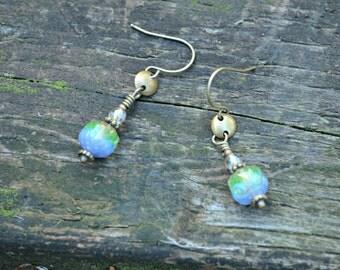 Blue Iris Earrings Czech glass and brass handmade jewelry gift for her