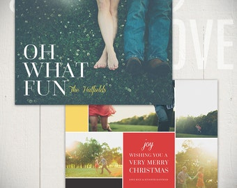 Christmas Card Template: Bright Spirits D - 5x7 Holiday Card Template for Photographers