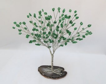 Green Tree of Life, Green and Silver Tree Wedding Cake Topper, Green Wire Wrapped Tree Centerpiece, Green Seed Bead Tree