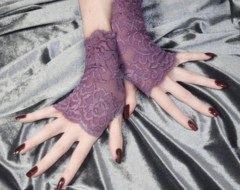 Purple Lace Armwarmers Fingerless gloves arm warmers goth gothic burlesque belly dance victorian bohemian gypsy sleeves handfasting wedding