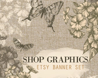 Etsy Banner, Etsy shop graphics, Custom banner, Rustic graphics, Canvas Butterfly Floral, Cover photo