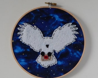 "7"" Hedwig Embroidery Hoop Ornament"